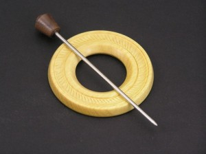 Yellowheart Shawl Pin with Metal Stick