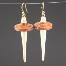 619 Drop Spindle Earrings - Partridge whorl