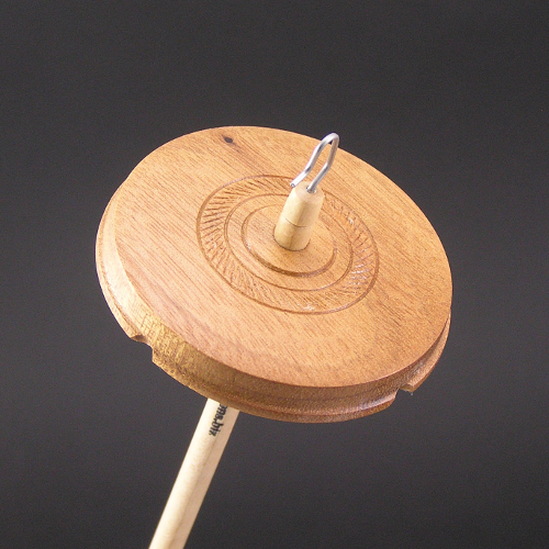 Tigerwood drop spindle with textured ring