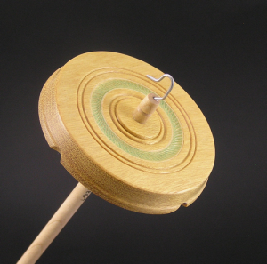 Drop Spindle Yellowheart with textured green ring